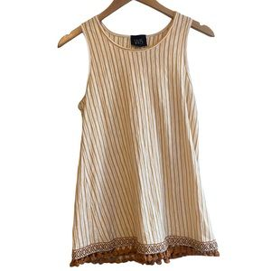 Anthropologie W5 Gold White Striped Scoop Neck Tassel Top Size Small